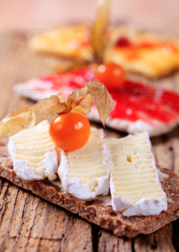 Crispbread with cheese and jam - Stock Photo - Images