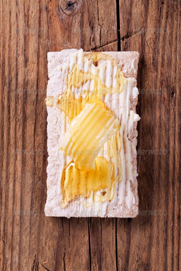 Crispbread and honey - Stock Photo - Images