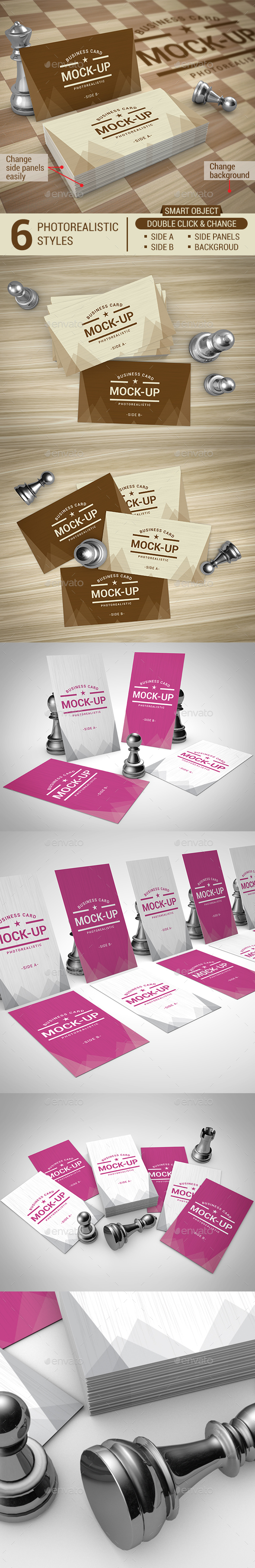 Business Card & Chess Mock-Ups - Business Cards Print