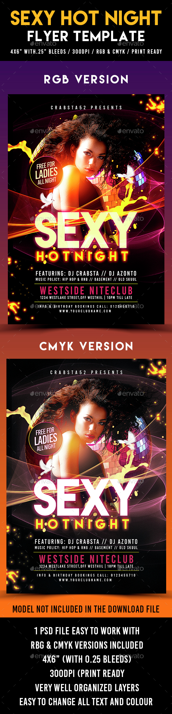 Sexy Hot Night Flyer Template - Clubs & Parties Events