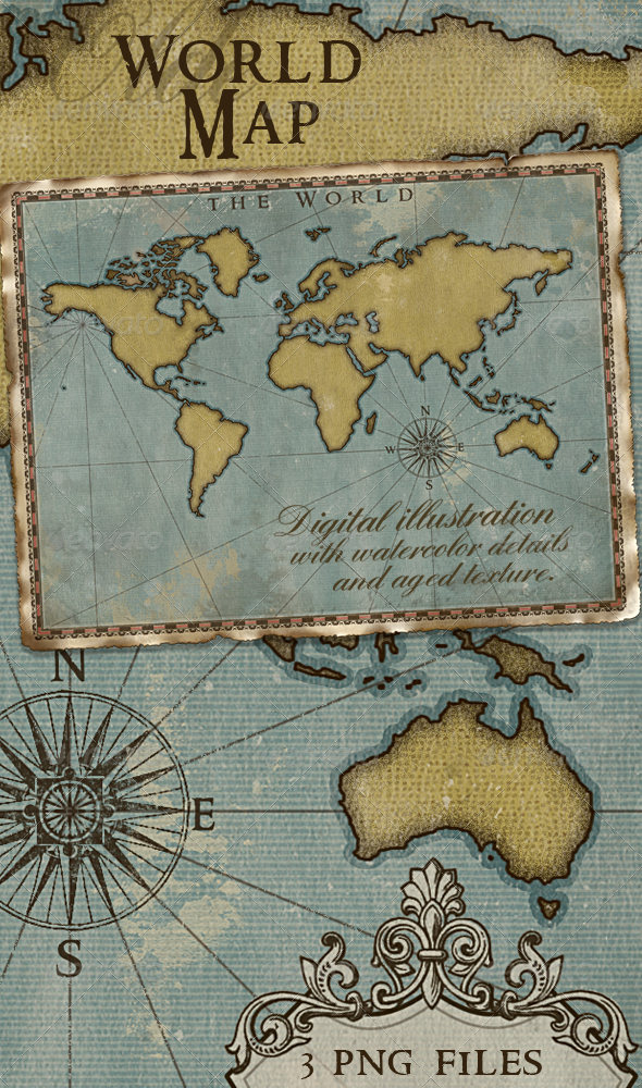 World map vintage style artistic by joiaco graphicriver world map vintage style artistic backgrounds graphics publicscrutiny Choice Image