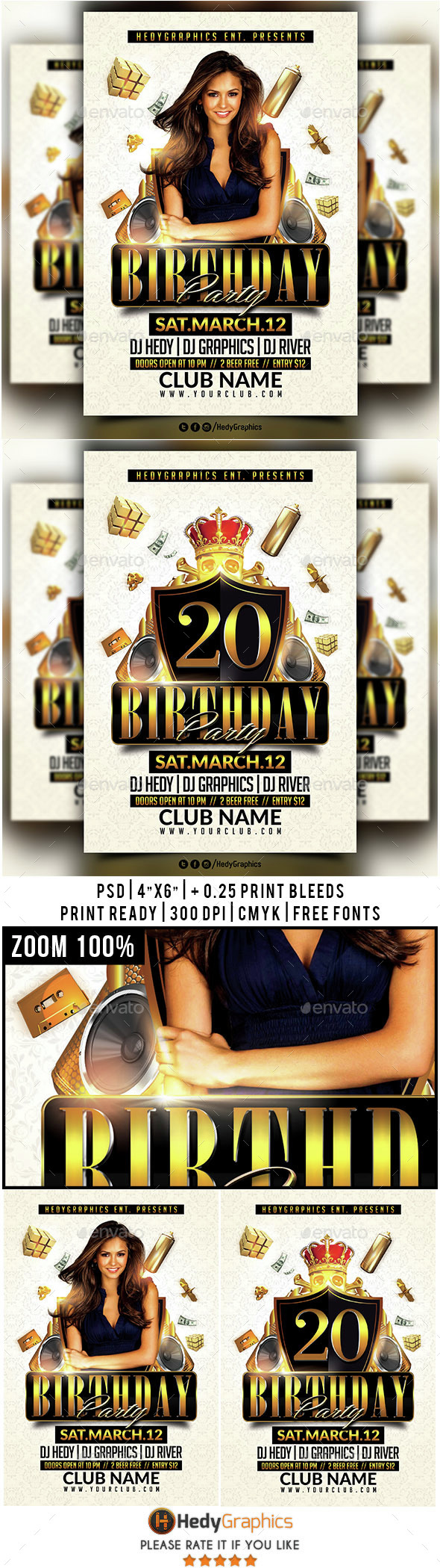 Birthday Party - Flyer Template - Clubs & Parties Events