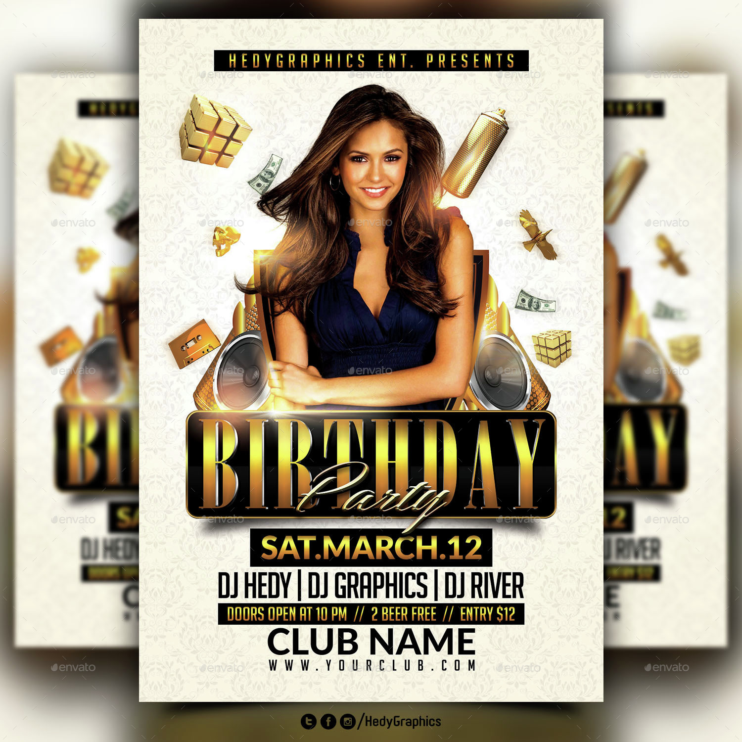 birthday party flyer template by hedygraphics graphicriver