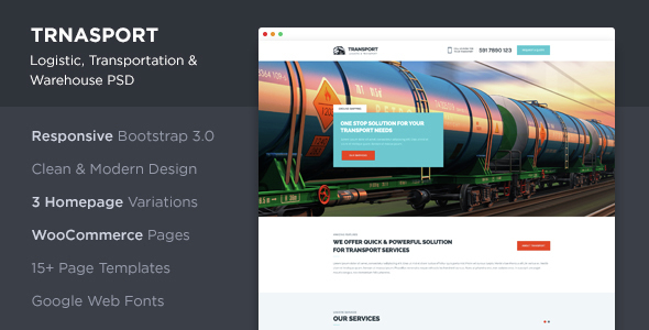 Transport - Logistic, Transportation & WareHouse PSD Template