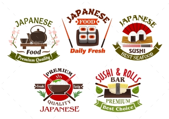 Japanese Cuisine Restaurant And Sushi Icons - Food Objects