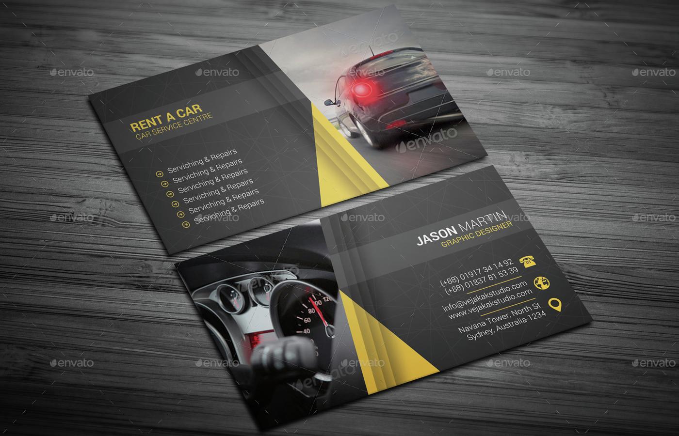Rent A Car Business Card by vejakakstudio | GraphicRiver