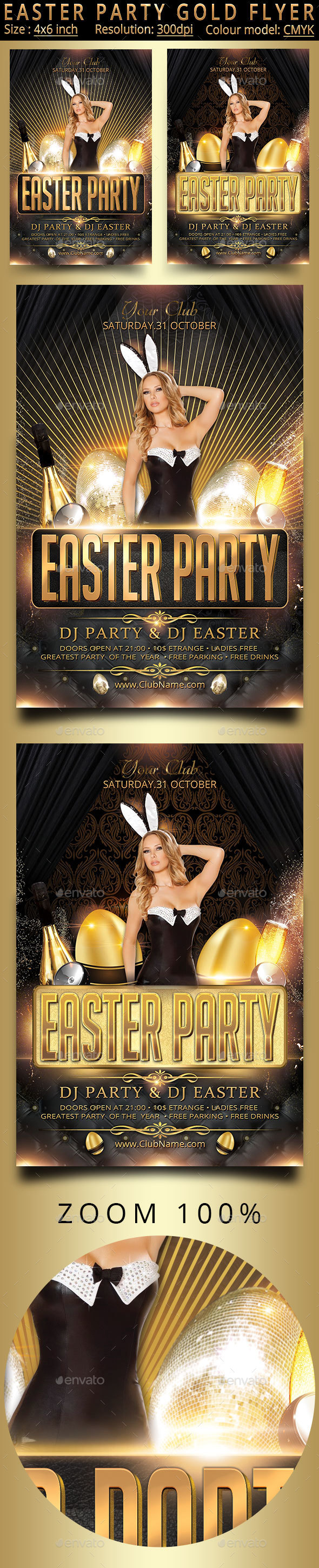 Easter Party Gold Flyer - Holidays Events