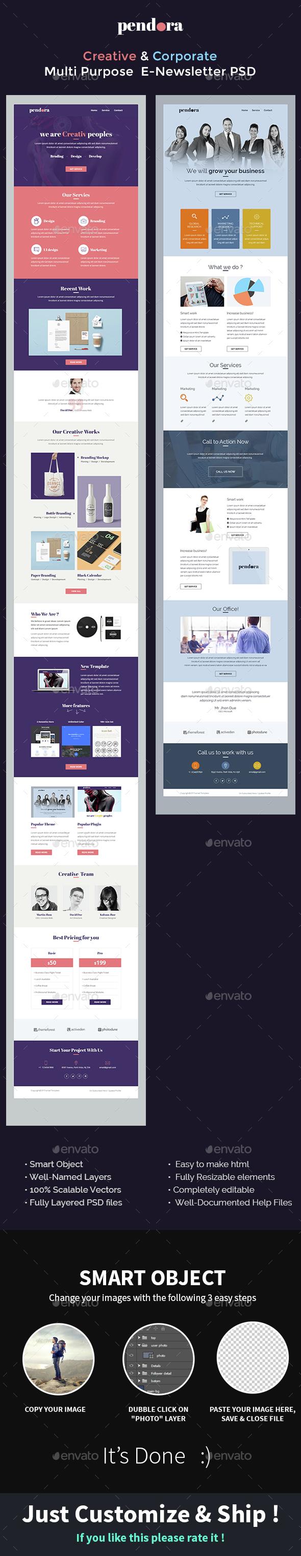 Creative & Corporate - Multi Purpose E-Newsletter PSD Template - Pendora  - E-newsletters Web Elements