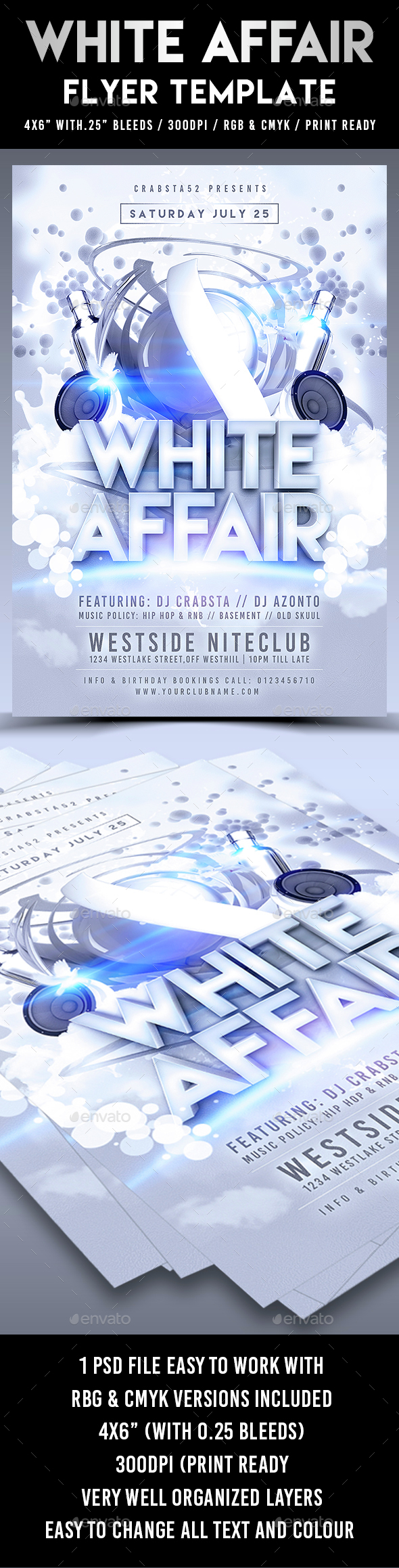 White Affair Flyer Template - Clubs & Parties Events