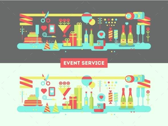Event Service Design Flat - Conceptual Vectors