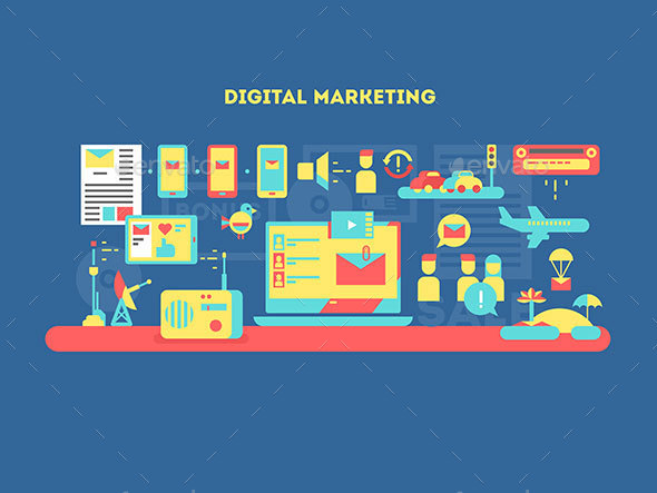 Digital Marketing Design Flat - Conceptual Vectors