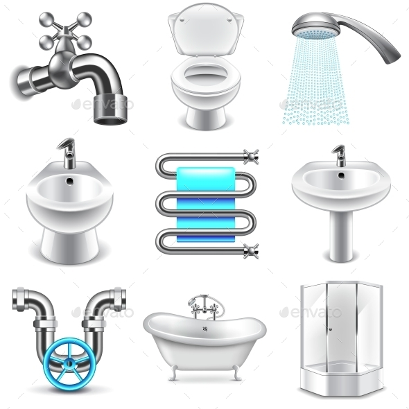Plumbing Icons Vector Set - Services Commercial / Shopping
