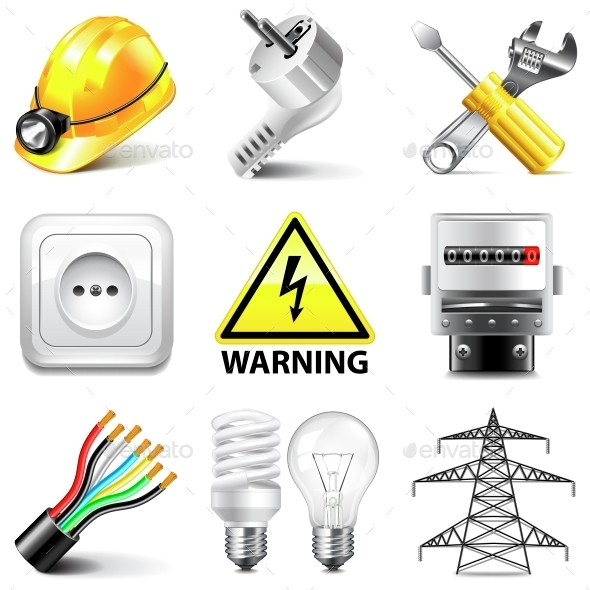 Electricity Icons Vector Set - Computers Technology