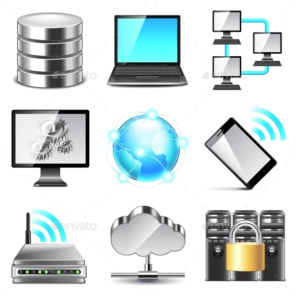 Network Icons Vector Set - Web Technology