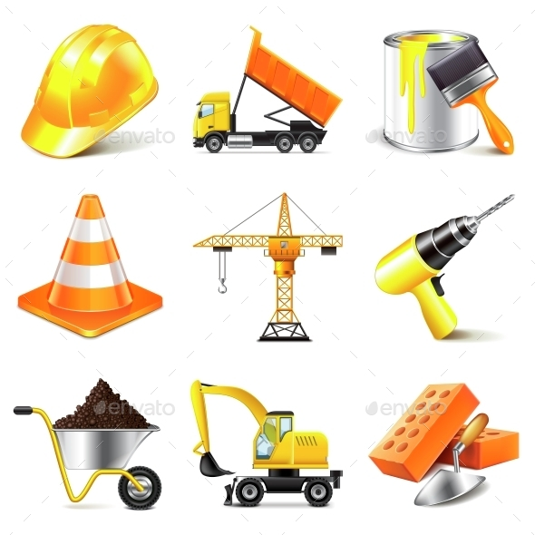 Construction Icons Vector Set - Industries Business