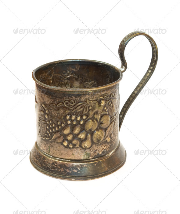 antique silver glass holder - Stock Photo - Images