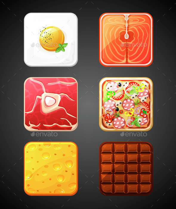Square Food Icons - Food Objects