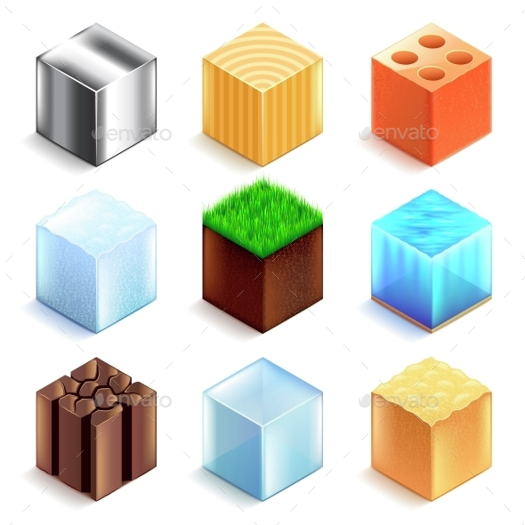 Materials and Textures Cubes Icons Vector Set - Organic Objects Objects