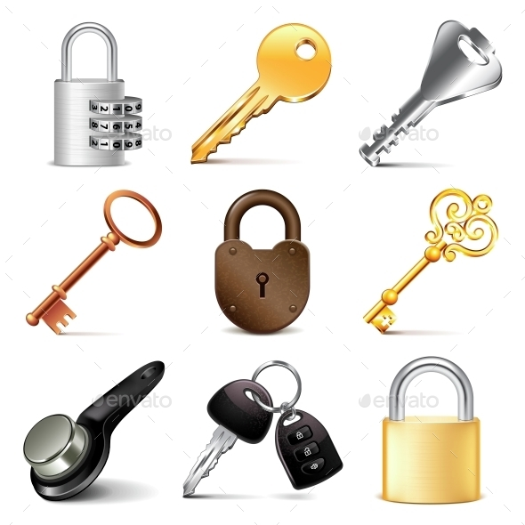Keys and Locks Icons Vector Set - Man-made Objects Objects