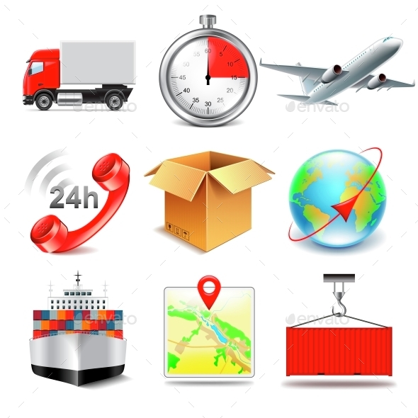 Logistics Icons Vector Set - Business Conceptual