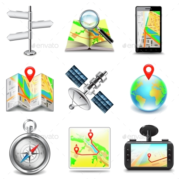 Maps and Navigation Icons Vector Set - Technology Conceptual