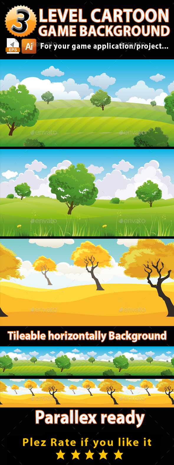 3 level Cartoon Game Background - Backgrounds Game Assets