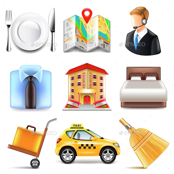 Hotel Icons Vector Set - Services Commercial / Shopping
