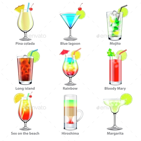 Cocktails Icons Vector Set - Food Objects