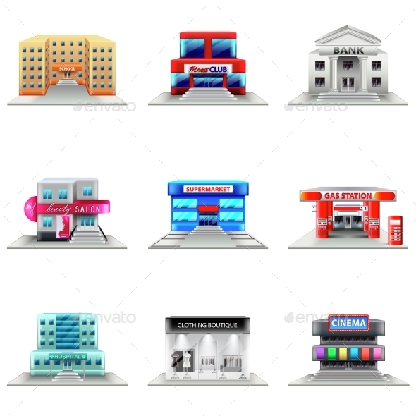 Town Buildings Icons Vector Set - Buildings Objects
