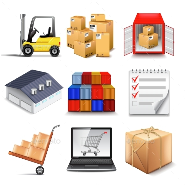 Logistics and Transporting Icons Vector Set - Business Conceptual
