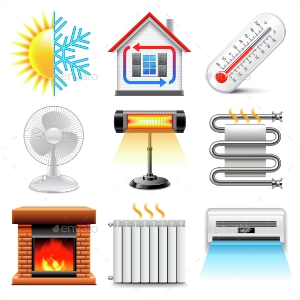 Heating and Cooling Icons Vector Set - Man-made Objects Objects