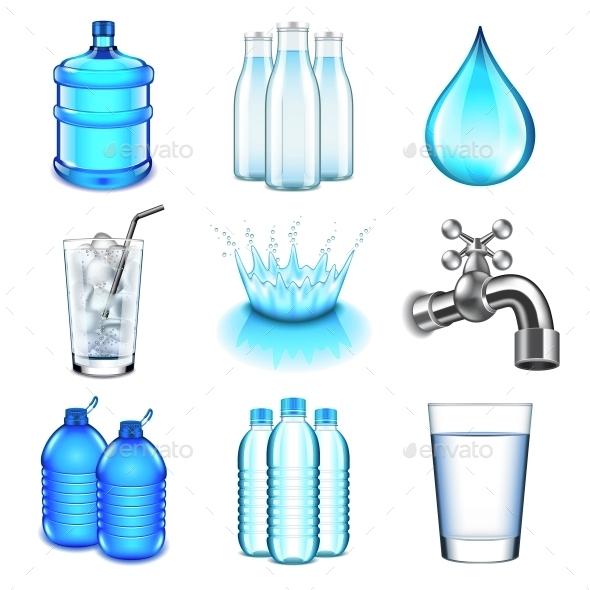 Water Drinks Icons Vector Set - Food Objects