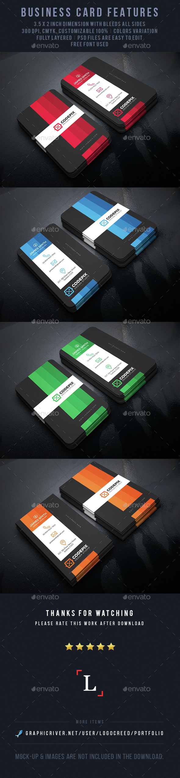 Color Shade Business Card - Business Cards Print Templates