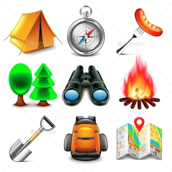 Camping Icons Vector Set - Seasons Nature