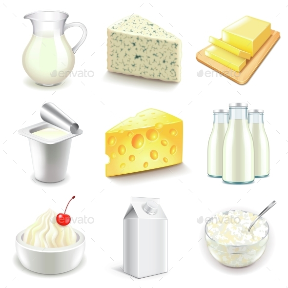 Dairy Products Icons Vector Set - Food Objects