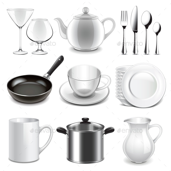 Crockery Icons Vector Set - Man-made Objects Objects