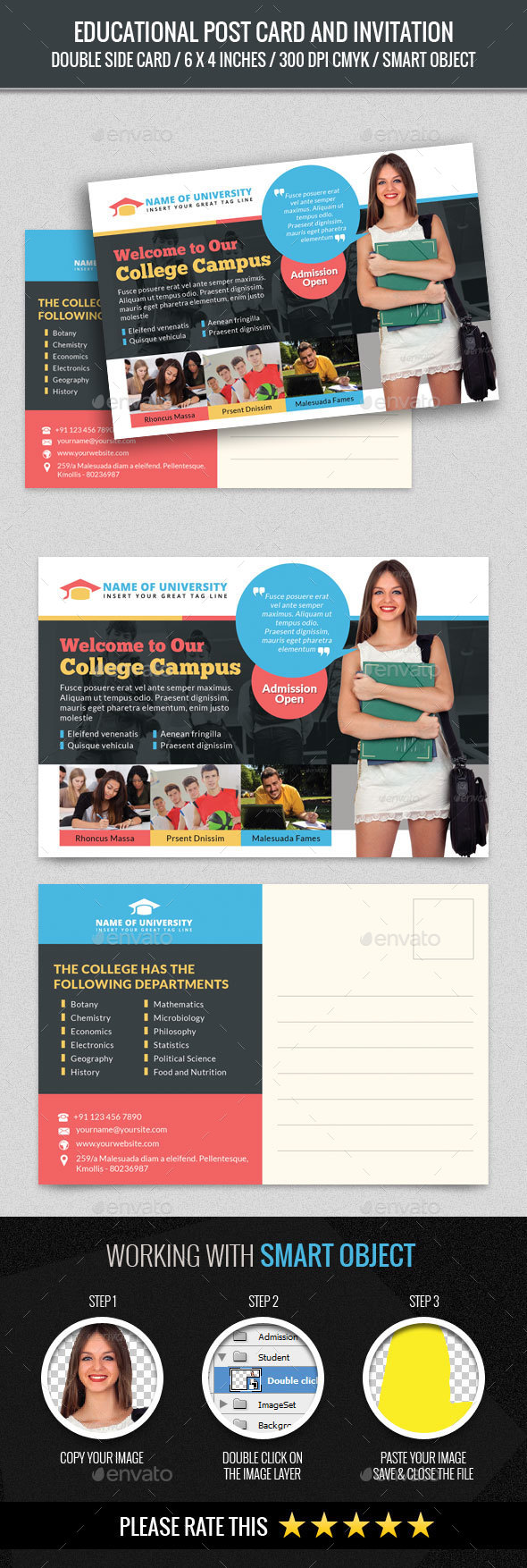 Educational Post Card - Cards & Invites Print Templates