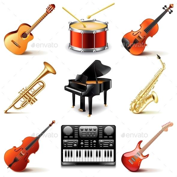 Musical Instruments Icons Vector Set - Miscellaneous Vectors