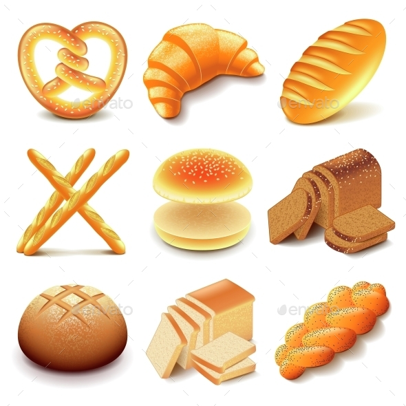 Bread and Bakery Icons Vector Set - Food Objects