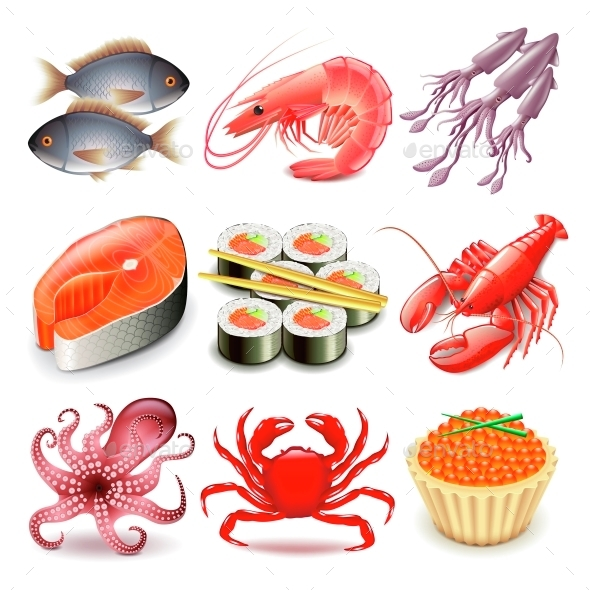 Seafood Icons Vector Set - Food Objects