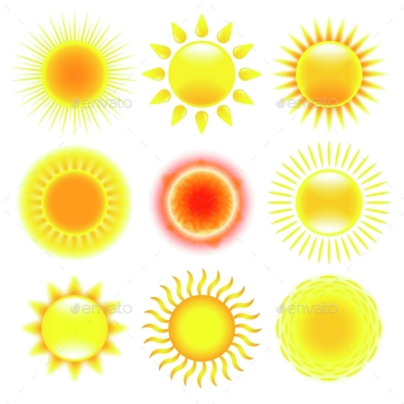 Sun Icons Vector Set - Organic Objects Objects