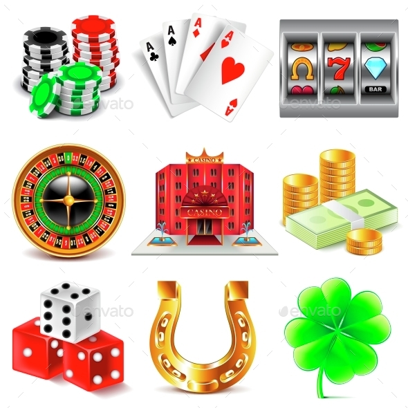 Casino and Gambling Icons Vector Set - Business Conceptual