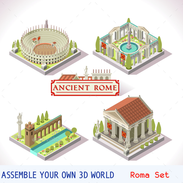 Roman 04 Tiles Isometric - Buildings Objects