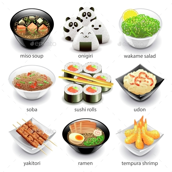 Japan Food Icons Vector Set - Food Objects