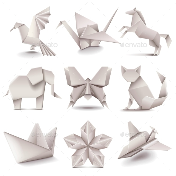 Origami Icons Vector Set - Man-made Objects Objects