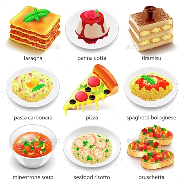 Italian Food Icons Vector Set - Food Objects