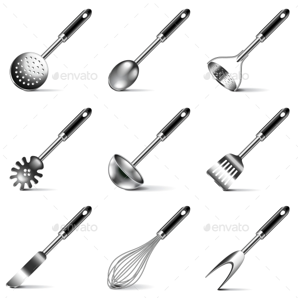 Kitchen Utensils Icons Vector Set - Man-made Objects Objects