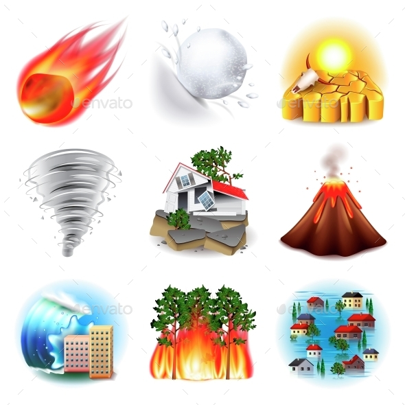 Natural Disasters Icons Vector Set - Landscapes Nature