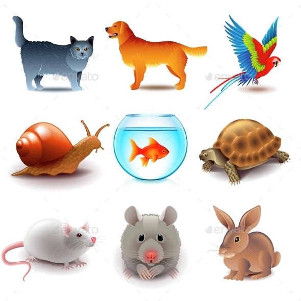 Pets Icons Vector Set - Animals Characters