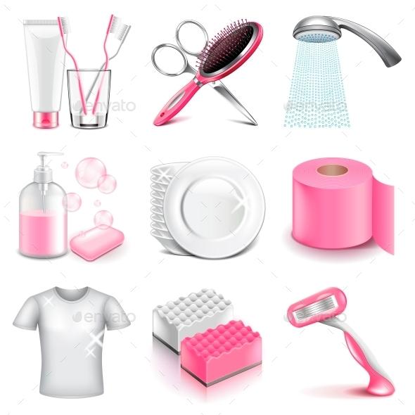 Hygiene Icons Vector Set - Health/Medicine Conceptual